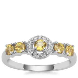 Ambilobe Sphene Ring with White Zircon in Sterling Silver 0.83ct