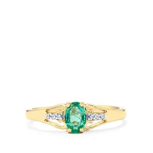 Zambian Emerald & White Zircon 9K Gold Ring ATGW 0.46cts