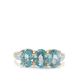 Ratanakiri Blue Zircon Ring with White Zircon in 9K Gold 3.83cts