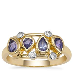 AA Tanzanite Ring with White Zircon in 9K Gold 0.80ct