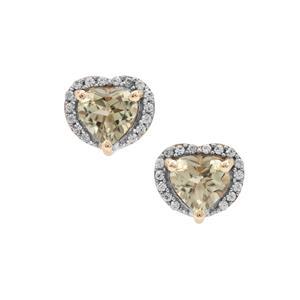 Csarite® & White Zircon 9K Gold Earrings ATGW 1.85cts