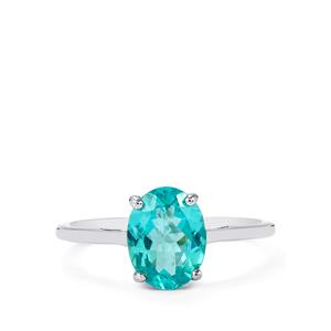 1.80ct Cyan Apatite 10K White Gold Ring
