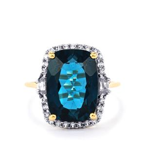 Marambaia London Blue Topaz Ring with White Zircon in 9K Gold 9.10cts