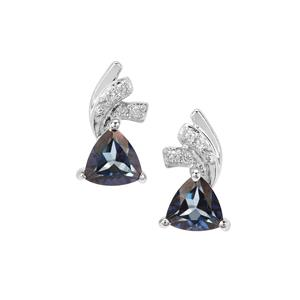 Hope Topaz Earrings with White Zircon in Sterling Silver 1.09cts