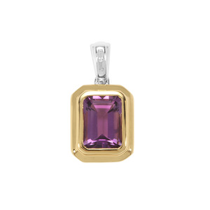 Bahia Amethyst Pendant with White Zircon in Two Tone Gold Plated Sterling Silver 3.86cts