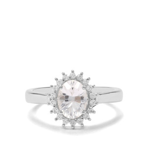 Itinga Petalite & White Zircon Sterling Silver Ring ATGW 1.21cts
