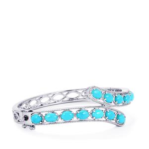 Sleeping Beauty Turquoise Oval Bangle in Sterling Silver 10.43cts