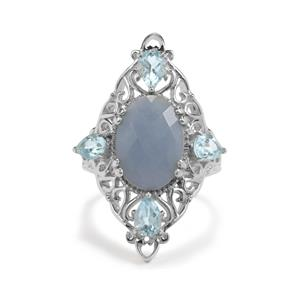Angelite & Sky Blue Topaz Sterling Silver Ring ATGW 7cts