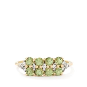 Ambanja Demantoid Garnet & White Zircon 9K Gold Ring ATGW 1.16cts
