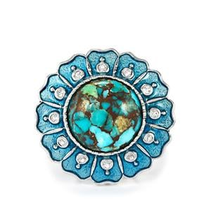Egyptian Turquoise & White Topaz Sterling Silver Enamel Ring ATGW 7.33cts