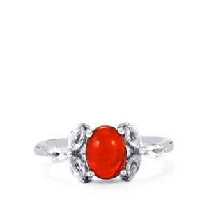 Ethiopian Red Opal Ring with White Topaz in Sterling Silver 1.38cts