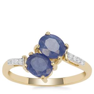 Burmese Blue Sapphire Ring with Diamond in 9K Gold 1.62cts