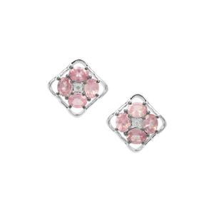 Mozambique Pink Spinel Earrings with White Zircon in Sterling Silver 1.46cts