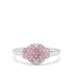 Mozambique Pink Spinel & White Zircon Sterling Silver Ring ATGW 0.75cts