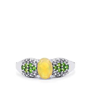 Ethiopian Opal Ring with Chrome Diopside in Sterling Silver 0.71cts