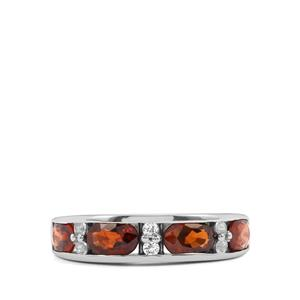 Cognac Zircon Ring with White Topaz in Sterling Silver 3.09cts