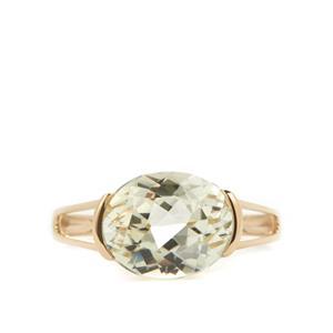 Minas Novas Hiddenite Ring in 9K Gold 4.50cts