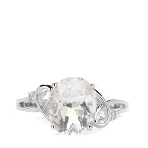 White Fluorite Ring with White Topaz in Sterling Silver 3.22cts