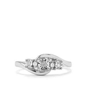 Diamond Ring in Sterling Silver 0.07ct