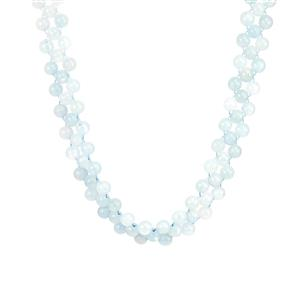 Aquamarine Slider Necklace with Magnetic Lock in Sterling Silver 220cts