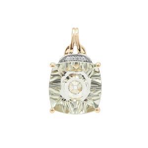 Lehrer Quasar Cut Prasiolite Pendant with Diamond in 9K Gold 5.50cts