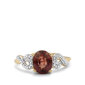 Tsivory Color Change Garnet Ring with Diamond in 14k Gold 2.6cts