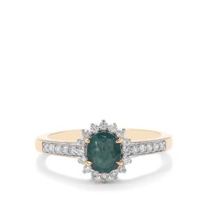 Grandidierite Ring with Diamond in 18K Gold 0.81ct