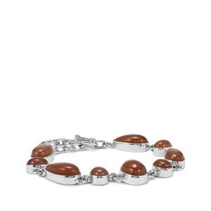 Peach Moonstone Bracelet in Sterling Silver 35cts