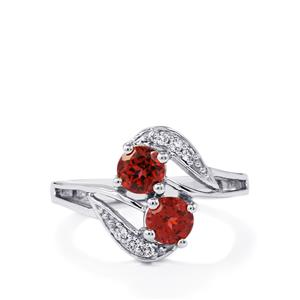 Red Umbalite & White Topaz Sterling Silver Ring ATGW 1.48cts