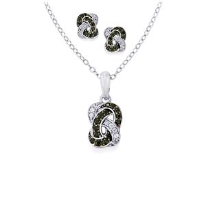 Black Spinel Sets of Earrings & Pendant Necklace with White Zircon in Sterling Silver 0.77cts