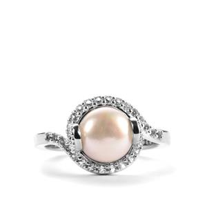 Kaori Cultured Pearl & White Topaz Sterling Silver Ring (8mm)