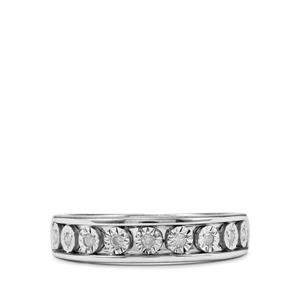 1/10ct Diamond Sterling Silver Halo Diamonds Ring