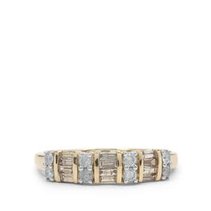 Champagne Diamond Ring with White Diamond in 9K Gold 0.54ct