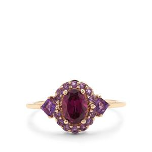 Rajasthan Garnet Ring with Amethyst in 9K Gold 1.39cts