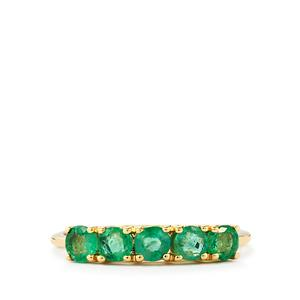 Zambian Emerald Ring  in 10k Gold 0.89ct
