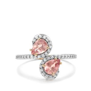 Padparadscha Sapphire Ring with White Zircon in 10K Gold 1.44cts