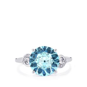 Lehrer KaleidosCut Sky Blue Topaz, Sri Lankan Sapphire Ring with Diamond in 10K White Gold 3.52cts