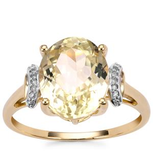 Canary Kunzite Ring with Diamond in 9K Gold 4.80cts