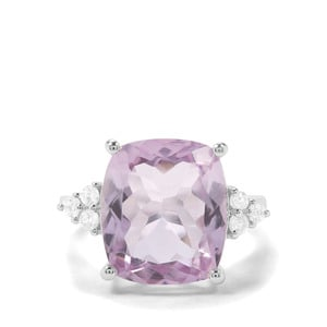Rose De France Amethyst & White Zircon Sterling Silver Ring ATGW 6.24cts