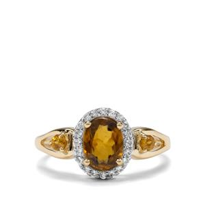 Morafeno Sphene & White Zircon 9K Gold Ring ATGW 1.92cts