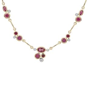 Safira Tourmaline Necklace with White Zircon in 9K Gold 2.05cts