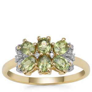 Green Dragon Demantoid Garnet Ring with Diamond in 9K Gold 1.50cts