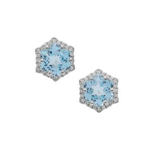 Wobito Snowflake Cut Sky Blue Topaz Earrings with White Zircon in 9K White Gold 6.25cts
