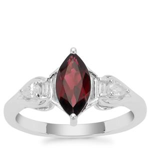 Octavian Garnet Ring with White Zircon in Sterling Silver 1.50cts