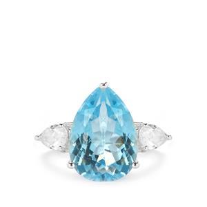 7.75ct Sky Blue & White Topaz Sterling Silver Ring