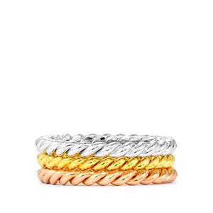 Set of 3 Twisted Stacker Rings in Sterling Silver