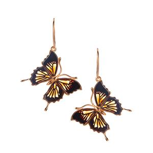 Baltic Champagne & Cherry Amber Gold Tone Sterling Silver Butterfly Earrings