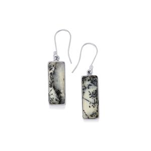 Siberian Dendrite Quartz Earrings in Sterling Silver 16.83cts