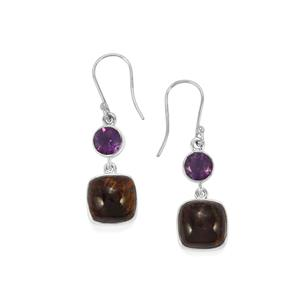 Cacoxenite Earrings with Bahia Amethyst in Sterling Silver 13.09cts