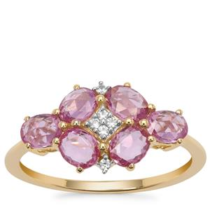 Rose Cut Pink Sapphire Ring with White Zircon in 9K Gold 1.67cts
